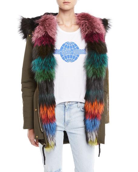 Superfreak Hooded Parka Coat w/ Fur Trim & Patches