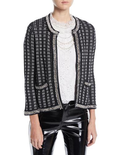 Georgia Short Embellished Tweed Sweater Jacket