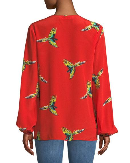 Silk Bird-Print Long-Sleeve Blouse