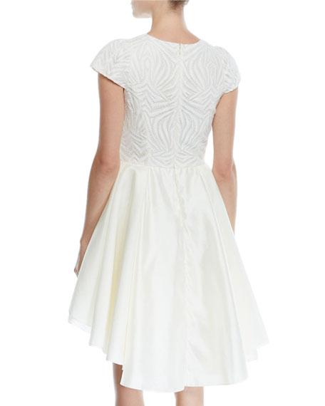 Cap-Sleeve Lace Dress w/ Skirt Overlay