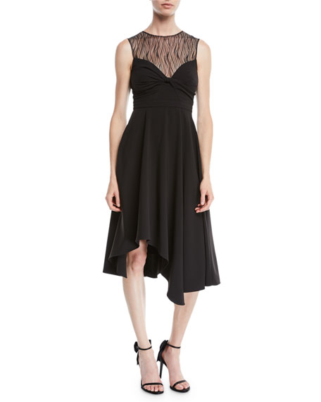 Sleeveless Dress w/ Knot & Lace Details
