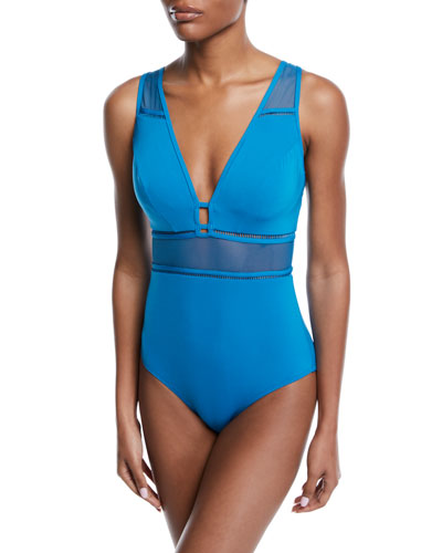 Aspire Plunging Underwire One-Piece Swimsuit (D/DD Cups)