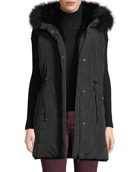 BELLE FARE Reversible Fur & Down Vest W/ Hood in Black
