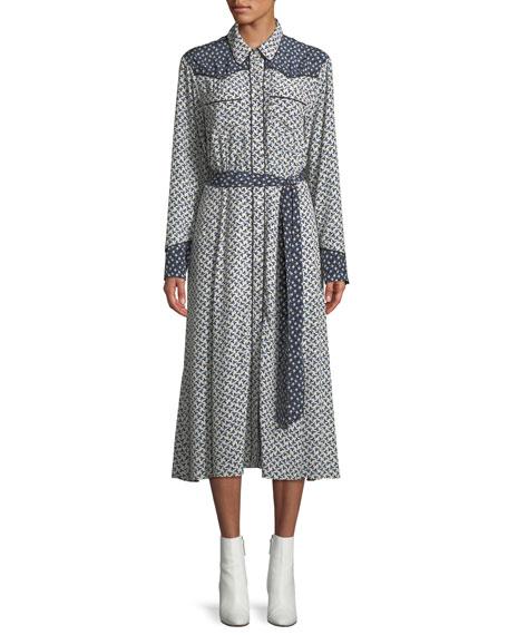 Spur Floral Long-Sleeve Button-Front Dress