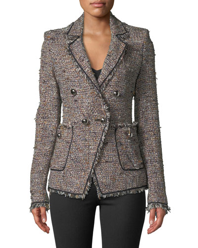 Theron Double-Breasted Tweed Jacket w/ Frayed Trim