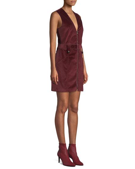 Orial Short Zip-Front Corduroy Dress