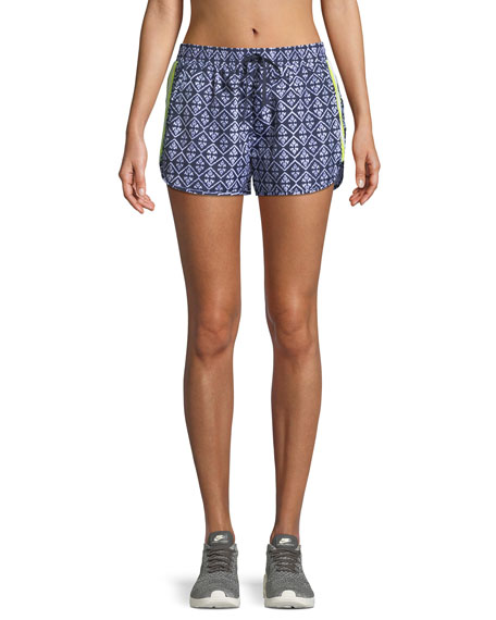 Drawstring Ikat Print Neon Side Stripe Shorts by The Upside