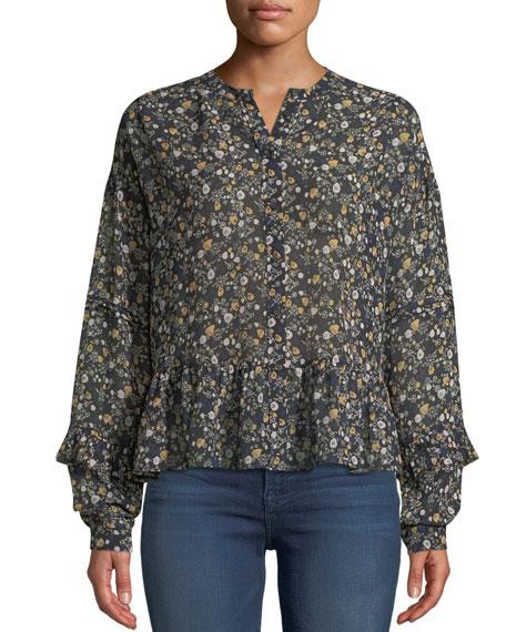 Ingrid Floral Button-Front Silk Peplum Top