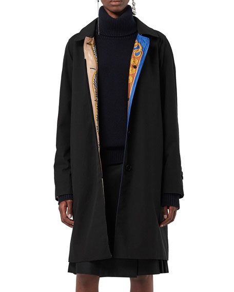 Camden Single-Breasted Car Coat W/ Archive-Print Lining in Black