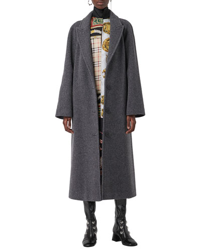 Single-Breasted Wool-Blend Coat w/ Lapped Seams