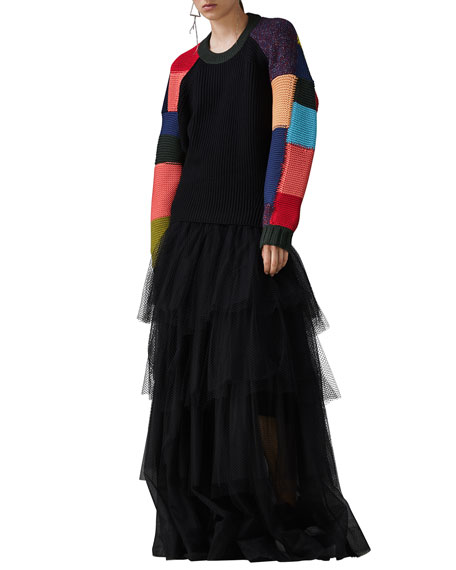 48ed8ab5b917 Burberry Crewneck Multicolor Patchwork Wool-Cashmere Cable-Knit Sweater