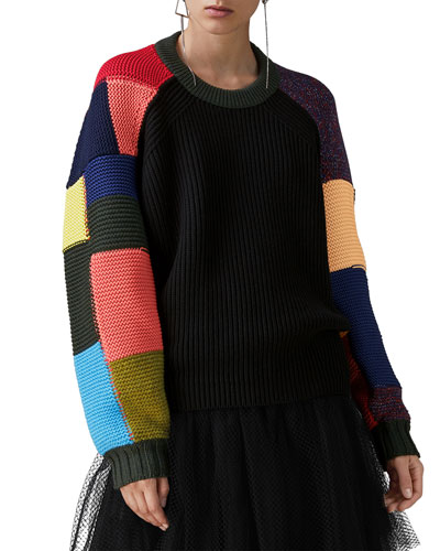 Crewneck Multicolor Patchwork Wool-Cashmere Cable-Knit Sweater