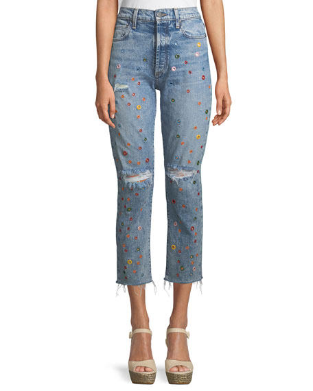AO.LA BY ALICE+OLIVIA Amazing Embellished High-Rise Cropped Jeans in Blue Pattern