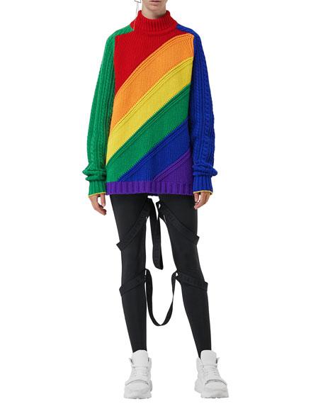 Burberry Rainbow Wool-Cashmere Turtleneck Sweater