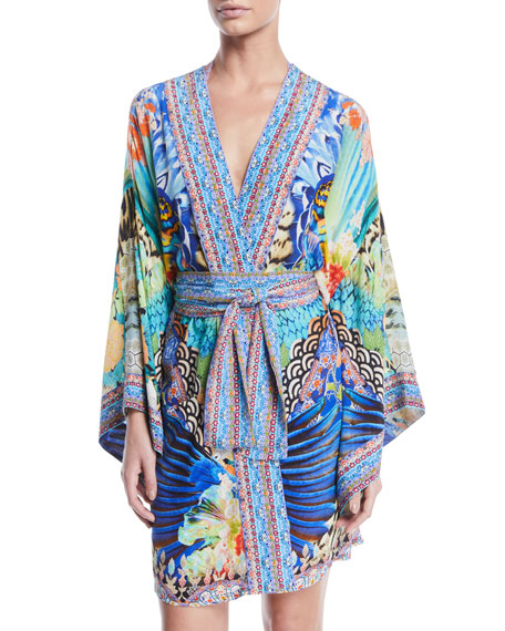 Printed Silk Kimono Coverup Robe with Belt