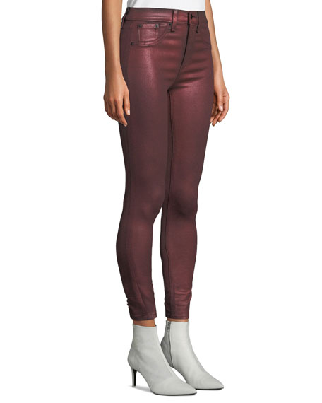 High-Rise Metallic Ankle Skinny Jeans