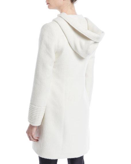 Suri Alpaca Coat w/ Fur-Trim Hood