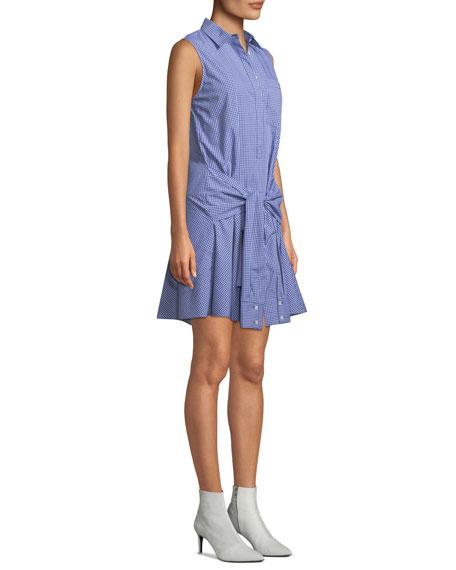 Sleeveless Tie-Waist Check Shirtdress