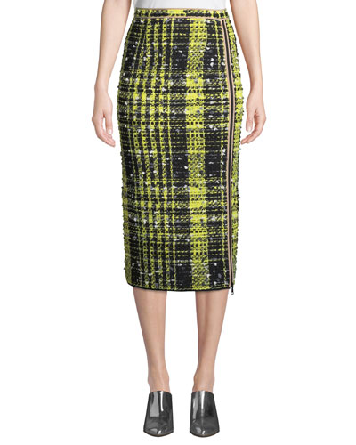 A-Line Checkered Midi Skirt
