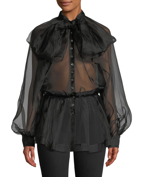 Image 1 of 1: Silk Organza Tie-Neck Button-Front Blouse