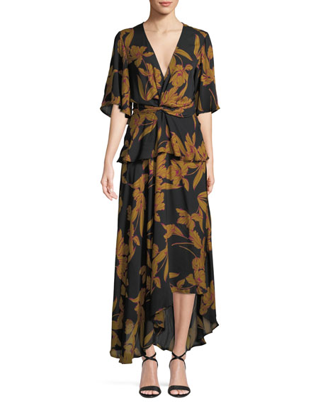 Image 1 of 1: Avi Floral-Print Silk Maxi Dress