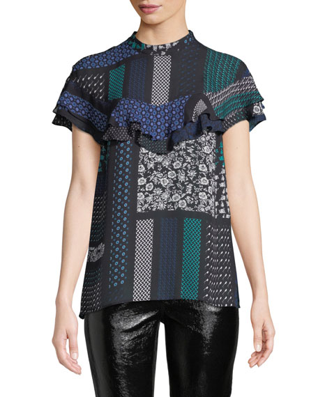 Printed Ruffle Button-Back Silk Top