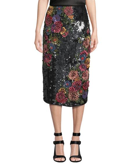 c9c753ac22e6 Alice + Olivia Ella Embellished Clean-Waist Straight Midi Skirt