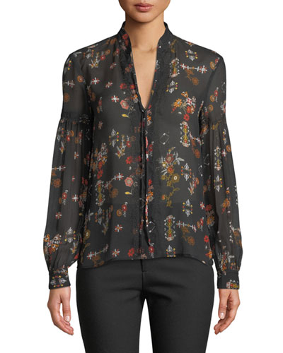 Floral Silk Tie-Neck Long-Sleeve Blouse
