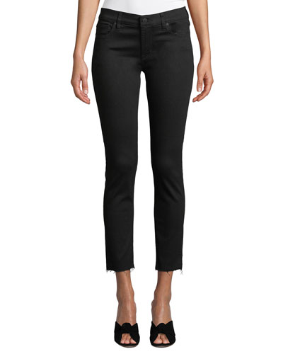 Tally Mid-Rise Cropped Skinny Jeans with Destroy Hem