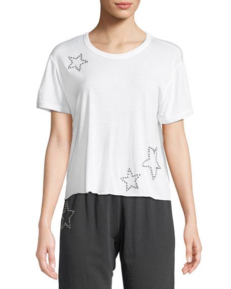 Studded Scoop-Neck Star Activewear Tee
