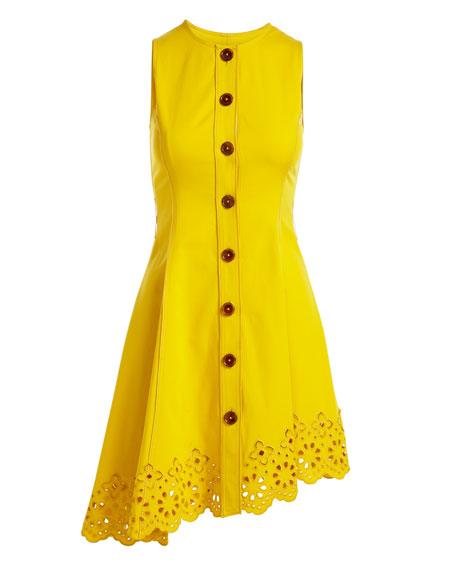 Sleeveless Button-Down Cotton Dress with Scalloped Hem