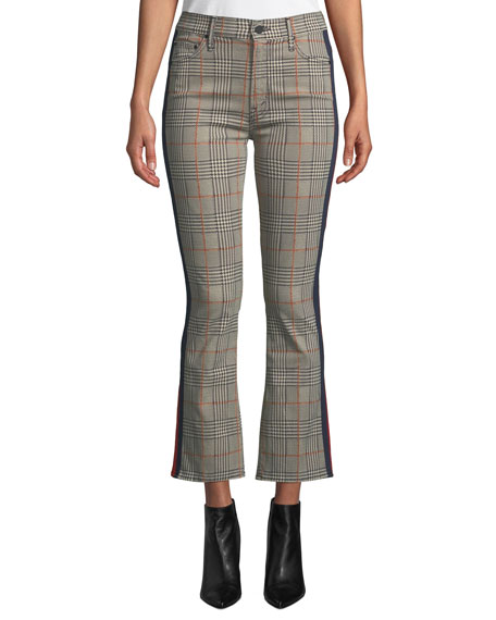 The Insider Plaid Cropped Flared Jeans In Orange/Black, Multi Pattern
