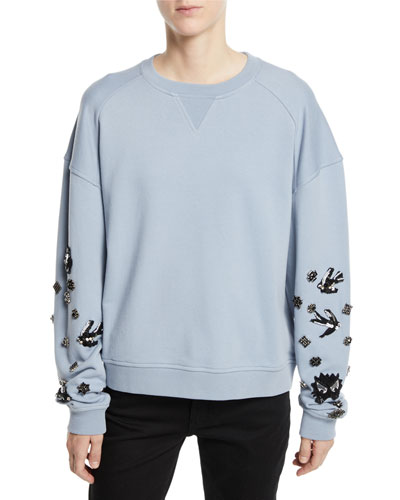 Slouchy Beaded Crewneck Pullover Sweatshirt