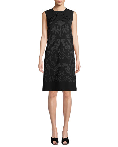 Mytle Sleeveless A-Line Crepe Dress with Hand-Embroidered Detail