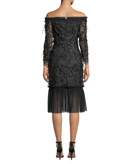 Off-the-Shoulder Embroidery & Feather Dress