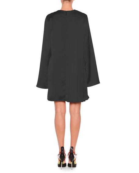 Satin Long-Sleeve Short Dress w/ Chain