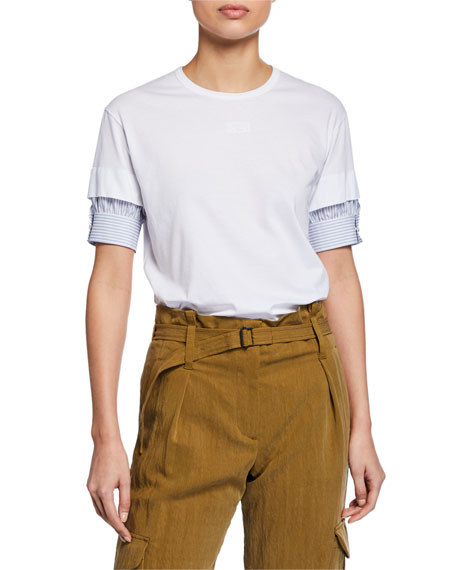No. 21 Short-Sleeve Asymmetric Trim Cotton Tee