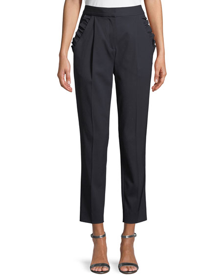Image 1 of 1: Spring Ruffle Straight-Leg Wool Pants
