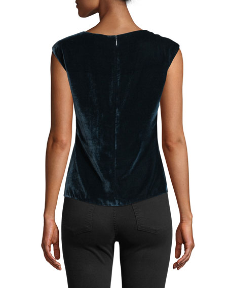 Velvet Ruched Sleeveless Top
