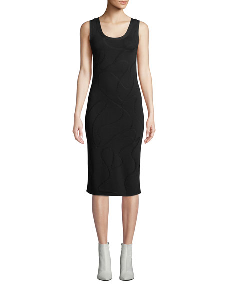 Image 1 of 1: Scoop-Neck Jacquard Midi-Length Tank Dress