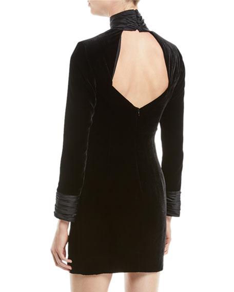 Felicity Turtleneck Velvet Long-Sleeve Mini Dress