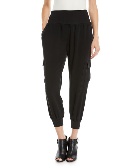 Giles Crepe Pull-On Jogger Pants