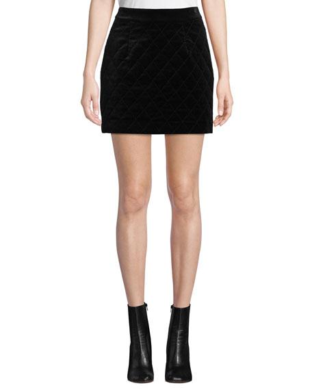 Velvet Quilted Mini Skirt