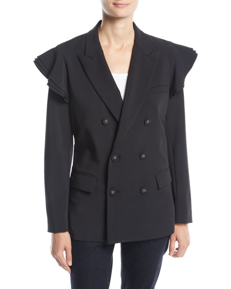 Tailored Double-Breasted Ruffle Blazer