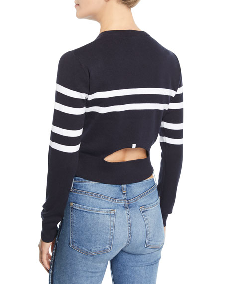 Nala Striped Cutout-Back Cropped Sweater