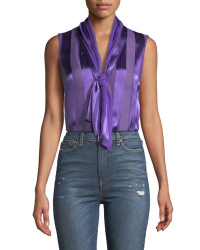 Gwenda Sleeveless Paneled Tie-Neck Tunic Blouse