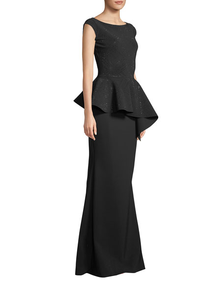 Etheline Beaded Cap-Sleeve Asymmetric Peplum-Waist Trumpet Evening Gown