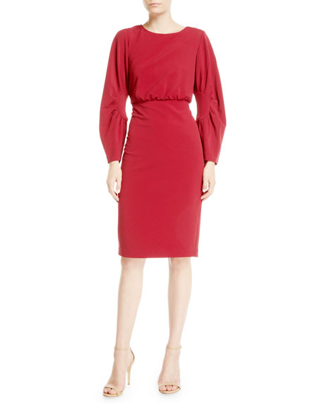 Image 1 of 1: Ruched Long-Sleeve Sheath Dress