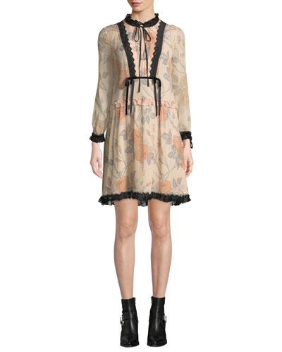 Rose-Print Long-Sleeve Silk Short Dress