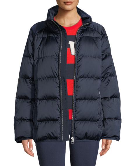 Satin Down Full-Zip Puffer Jacket
